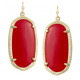 Ladys Yellow 14K Gold Plate Elle W- Dark Red Opaque Glass Earrings