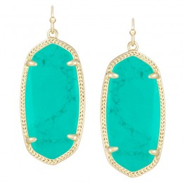 Ladys Yellow Gold Plate Teal Elle Earrings