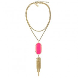Ladys Yellow Gold Plate Magenta Rayne Necklace