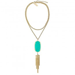 Ladys Yellow Gold Plate Teal Rayne Necklace