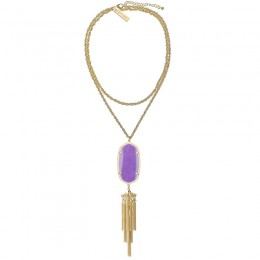 Ladys Yellow Gold Plate Violet Rayne Necklace