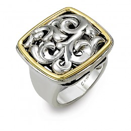 Two-Tone Sterling Silver-18K Large Square Top Ring