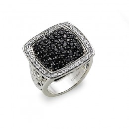 Sterling Silver Square Ivy Ring with Round Black Sapphires and Round White Sapphires