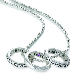 "Sterling Silver "" I Love You 365 Daysa Year 3 Piece Pendant Set Necklace with Round Pink Sapphires"