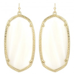 Ladys Yellow Gold Plate White Mop Danielle Earrings