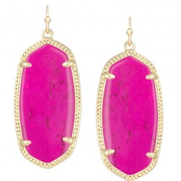 Ladys Yellow Gold Plate Magenta Elle Earrings