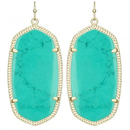 Ladys Yellow Gold Plate Teal Danielle Earrings