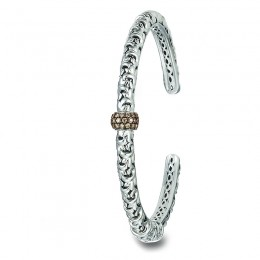 White Sterling Silver- 14KWg Cuff Bracelet with Round Champagne Diamonds