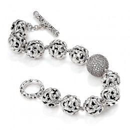 Sterling Silver Bead Bracelet with Round White Sapphires