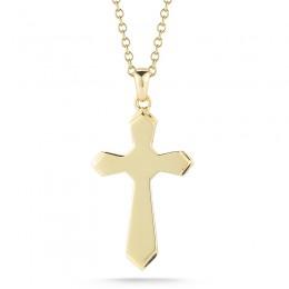 Yellow 14 Karat Jerusalem Cross Charms Length 18