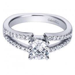 White 14 Karat Split Shank  Engagement Mounting  With Round Diamonds