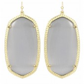 Ladys Yellow 14K Gold Plate Danielle W- Slate Cats Eye Earrings